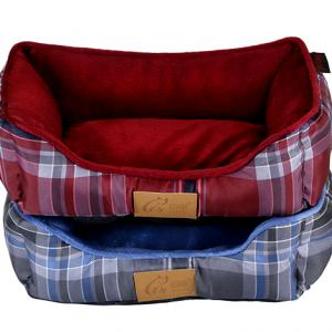 High Quality Plaid Printed Microfiber and Microvelvet Fabric Washable Pet Bed For Dogs Cat Bed Wholesale