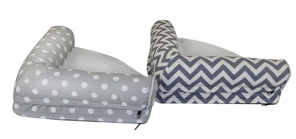 OEM Gray Chevron Dots Printed T/C Small Large Pet Bed Washable Orthopedic Dog Mattress Cat Sofa Durable Cushion