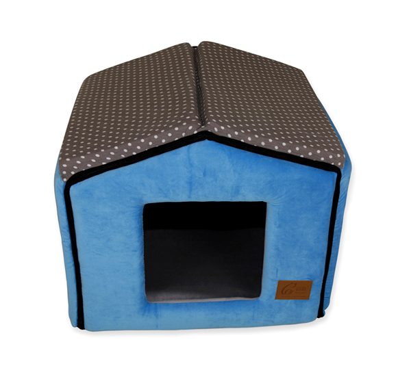 Manufacturer Gray Cotton Polka Dots Sky Blue Velvet Pet Bed House with Reversible Orthopedic Cushion Luxury Prince Pet Bed Designer Cat Furniture Puppy Rabbit Mattress Bed House Hot Selling